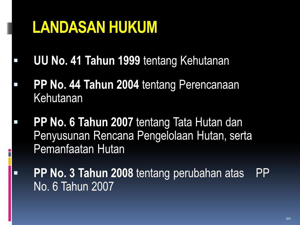 LANDASAN HUKUM  UU No. 41 Tahun 1999 tentang Kehutanan  PP No. 44 Tahun 2004 tentang Perencanaan Kehutanan  PP No. 6 Tahun 2007 tentang Tata Hutan
