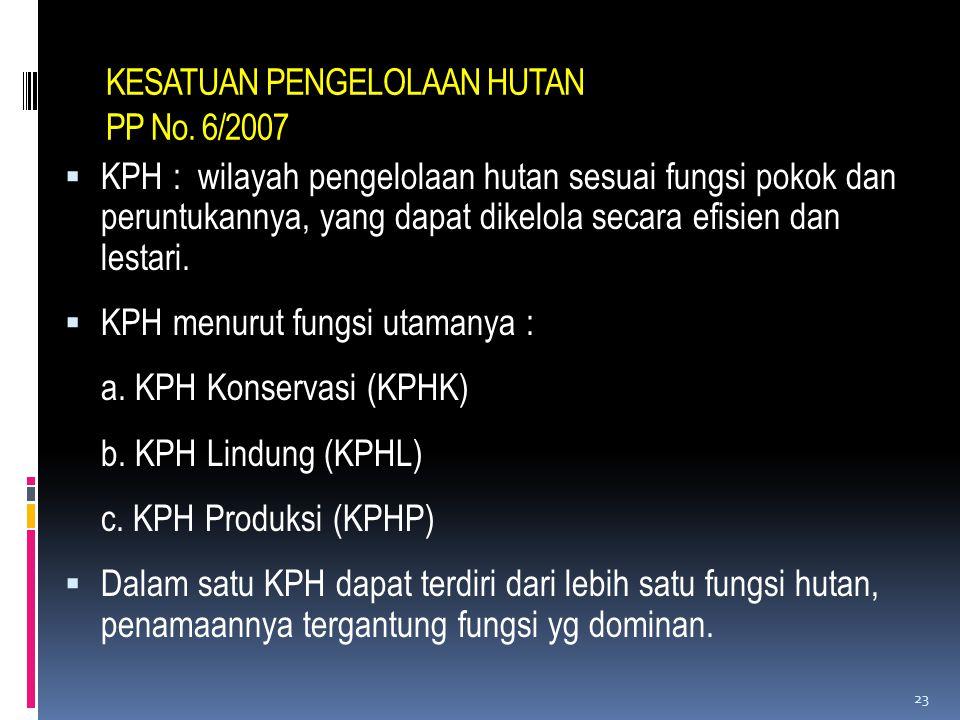 KESATUAN PENGELOLAAN HUTAN PP No. 6/2007  KPH : wilayah pengelolaan hutan sesuai fungsi pokok dan peruntukannya, yang dapat dikelola secara efisien d