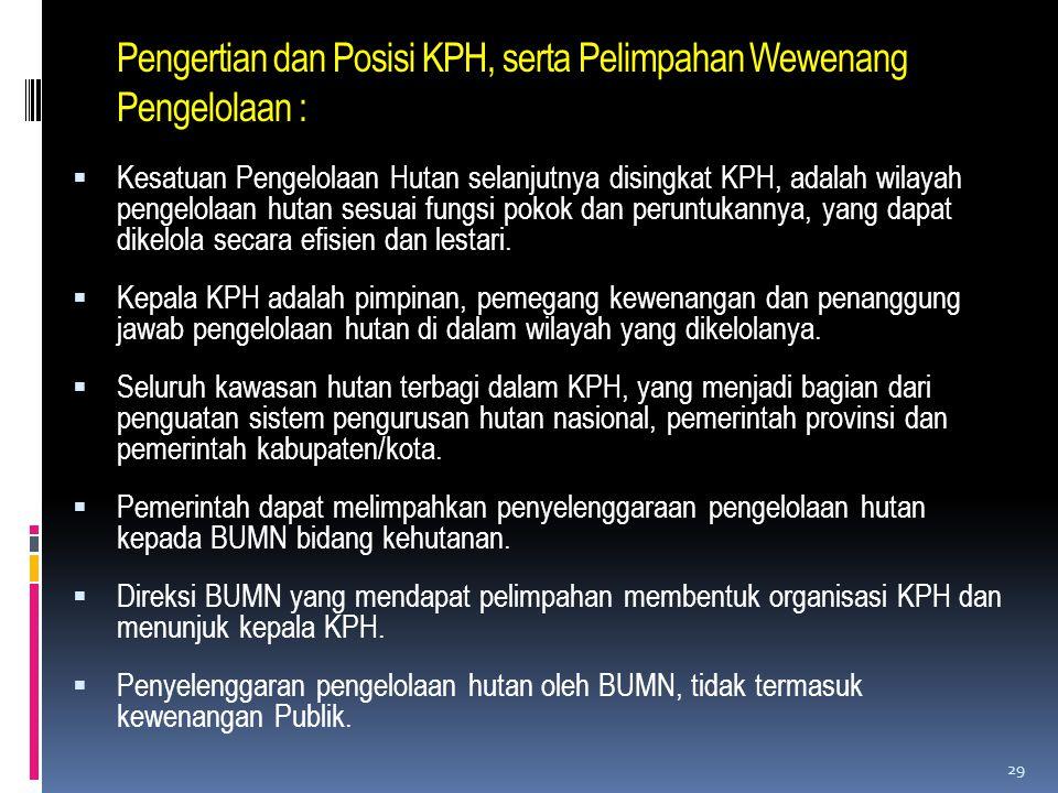 Pengertian dan Posisi KPH, serta Pelimpahan Wewenang Pengelolaan :  Kesatuan Pengelolaan Hutan selanjutnya disingkat KPH, adalah wilayah pengelolaan