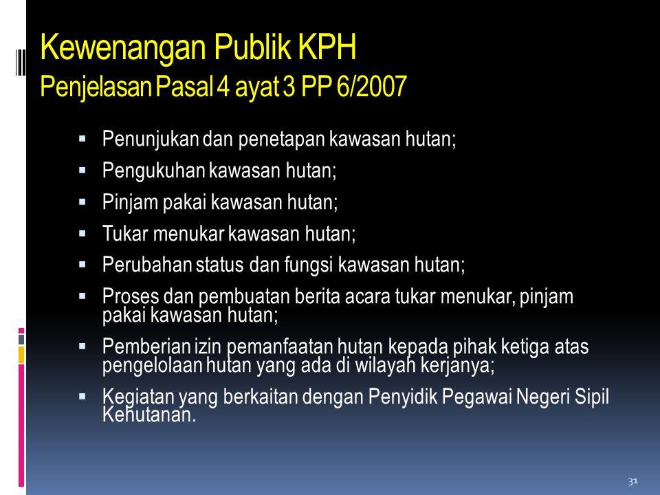 Kewenangan Publik KPH Penjelasan Pasal 4 ayat 3 PP 6/2007  Penunjukan dan penetapan kawasan hutan;  Pengukuhan kawasan hutan;  Pinjam pakai kawasan