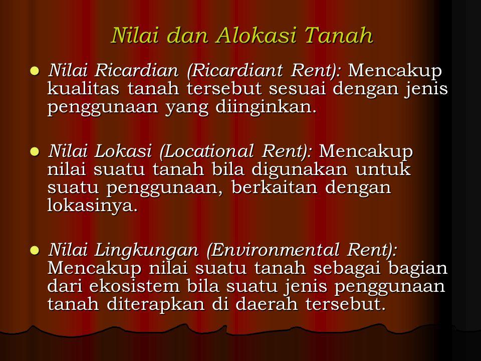 Nilai dan Alokasi Tanah Nilai Ricardian (Ricardiant Rent): Mencakup kualitas tanah tersebut sesuai dengan jenis penggunaan yang diinginkan. Nilai Rica