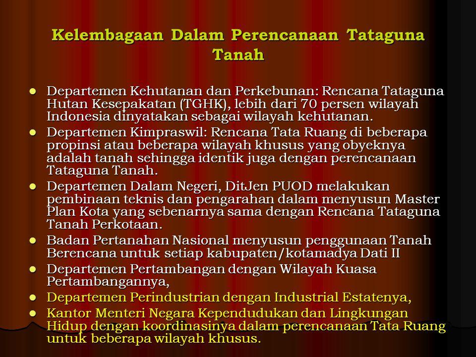 Kelembagaan Dalam Perencanaan Tataguna Tanah Departemen Kehutanan dan Perkebunan: Rencana Tataguna Hutan Kesepakatan (TGHK), lebih dari 70 persen wilayah Indonesia dinyatakan sebagai wilayah kehutanan.