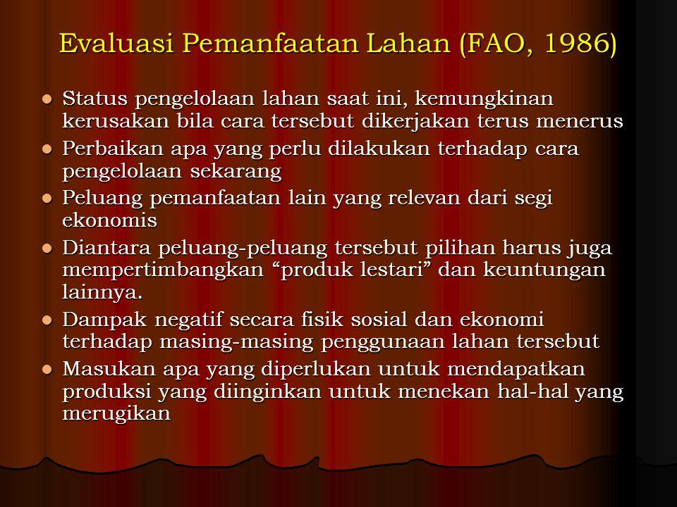 Evaluasi Pemanfaatan Lahan (FAO, 1986) Status pengelolaan lahan saat ini, kemungkinan kerusakan bila cara tersebut dikerjakan terus menerus Status pen