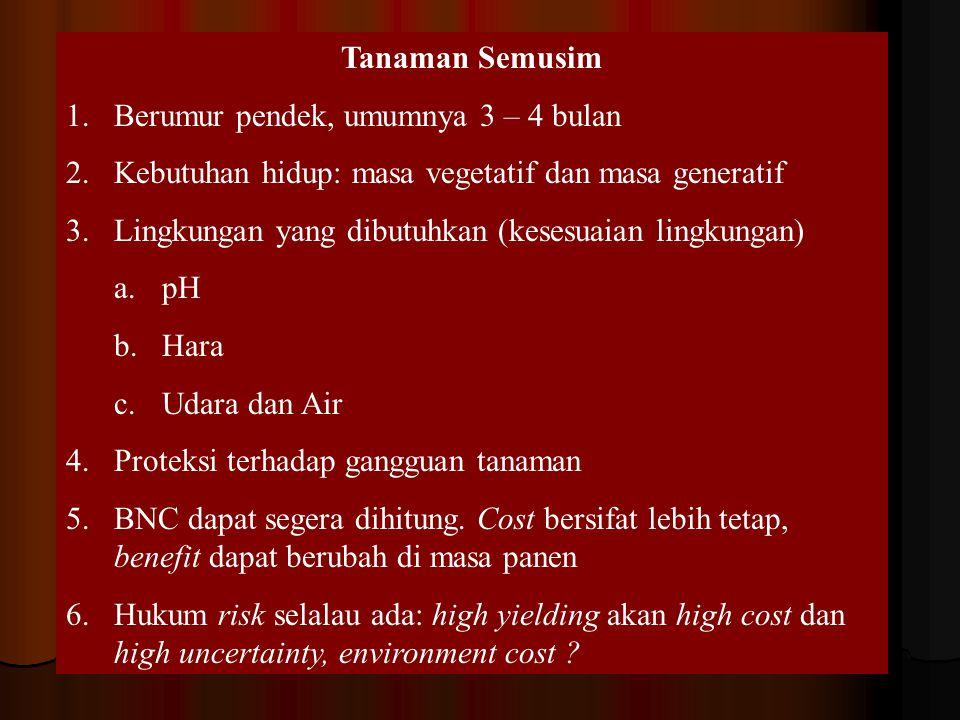 Tanaman Semusim 1.Berumur pendek, umumnya 3 – 4 bulan 2.Kebutuhan hidup: masa vegetatif dan masa generatif 3.Lingkungan yang dibutuhkan (kesesuaian li