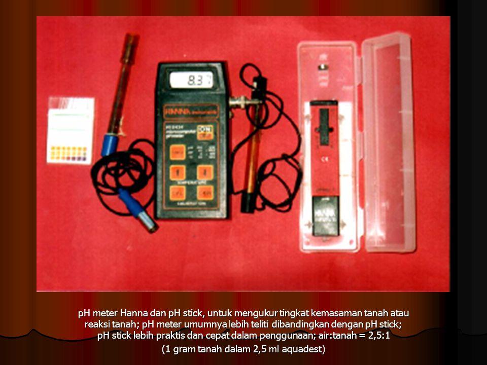 pH meter Hanna dan pH stick, untuk mengukur tingkat kemasaman tanah atau reaksi tanah; pH meter umumnya lebih teliti dibandingkan dengan pH stick; pH