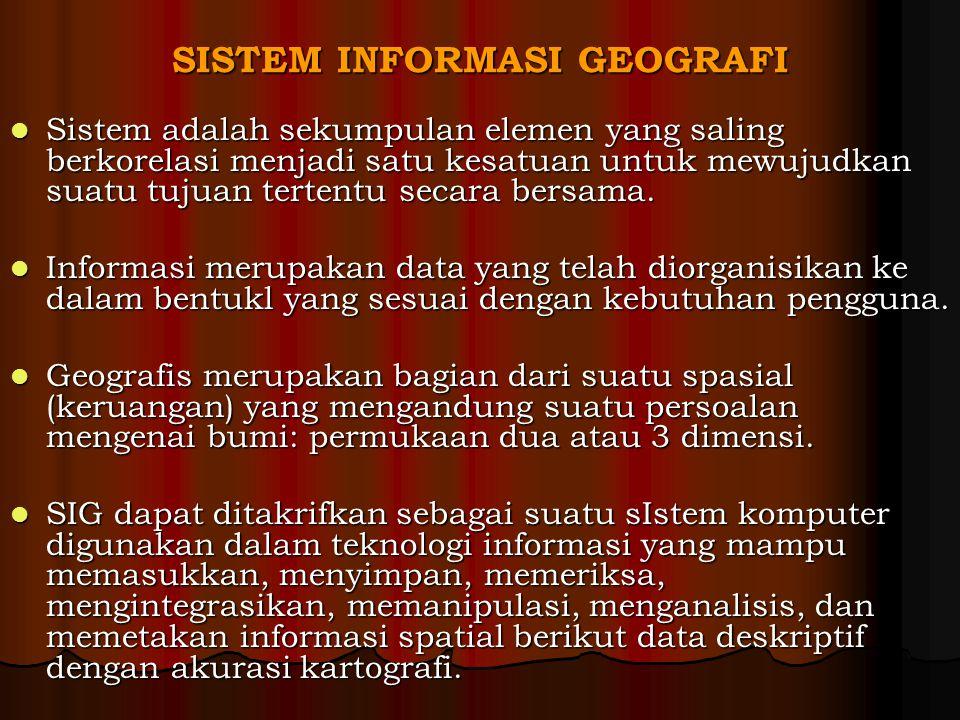 SISTEM INFORMASI GEOGRAFI Sistem adalah sekumpulan elemen yang saling berkorelasi menjadi satu kesatuan untuk mewujudkan suatu tujuan tertentu secara bersama.
