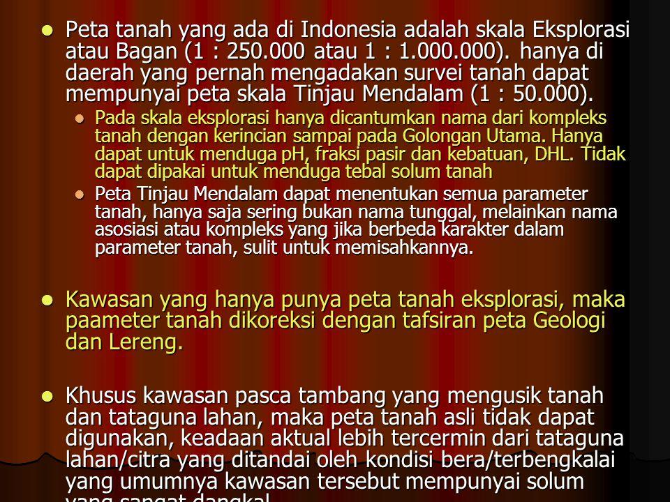 Peta tanah yang ada di Indonesia adalah skala Eksplorasi atau Bagan (1 : 250.000 atau 1 : 1.000.000).