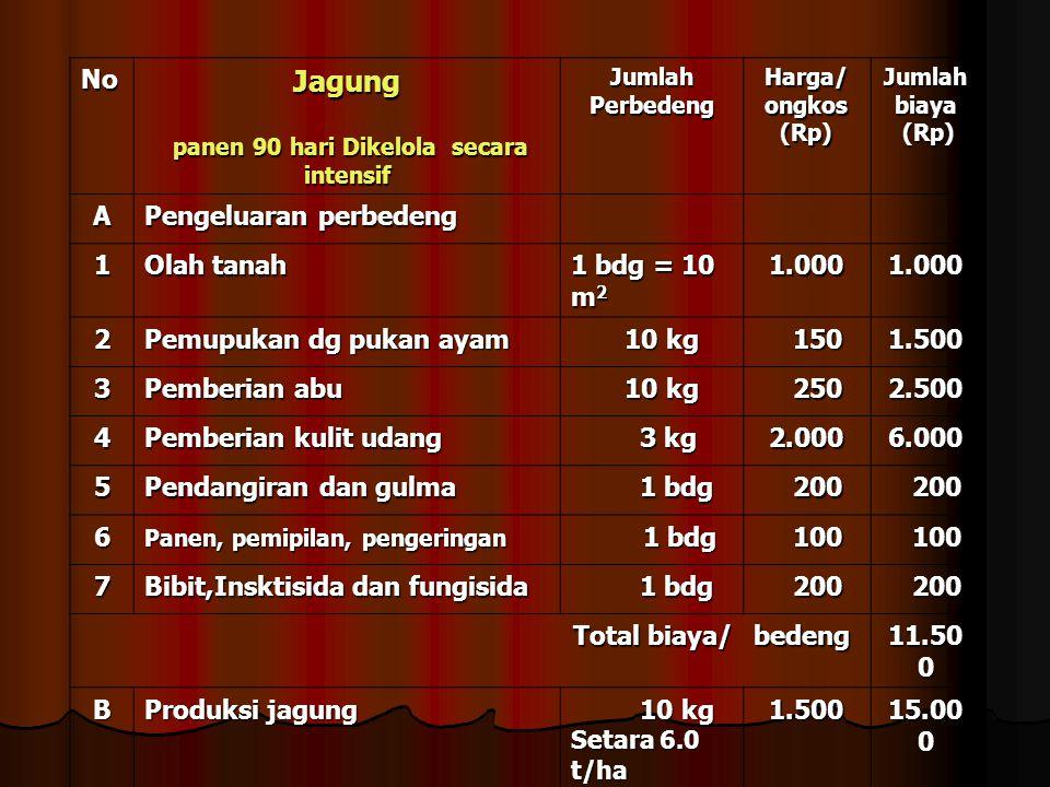 NoJagung panen 90 hari Dikelola secara intensif panen 90 hari Dikelola secara intensif Jumlah Perbedeng Harga/ ongkos (Rp) Jumlah biaya (Rp) (Rp) A Pengeluaran perbedeng 1 Olah tanah 1 bdg = 10 m 2 1.0001.000 2 Pemupukan dg pukan ayam 10 kg 10 kg 150 1501.500 3 Pemberian abu 10 kg 10 kg 250 2502.500 4 Pemberian kulit udang 3 kg 3 kg2.0006.000 5 Pendangiran dan gulma 1 bdg 1 bdg 200 200 6 Panen, pemipilan, pengeringan 1 bdg 1 bdg 100 100 7 Bibit,Insktisida dan fungisida 1 bdg 1 bdg 200 200 Total biaya/ bedeng 11.50 0 B Produksi jagung 10 kg 10 kg Setara 6.0 t/ha 1.500 15.00 0 C Keuntungan perbedeng 3.500 3.500