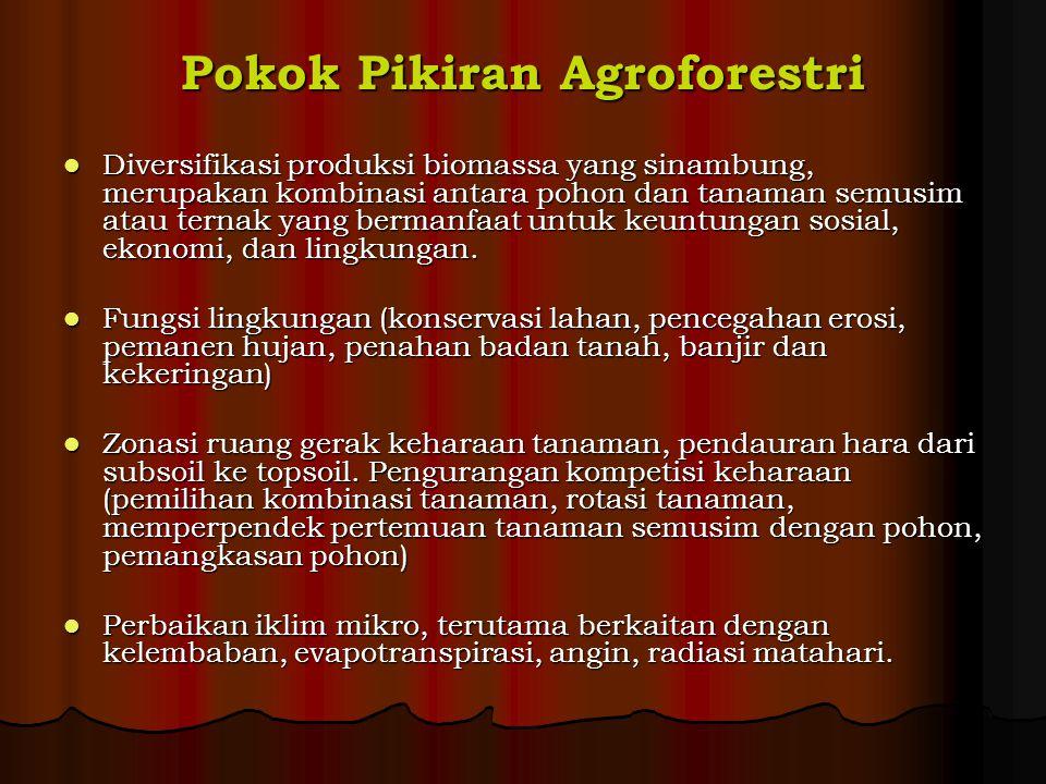 Pokok Pikiran Agroforestri Diversifikasi produksi biomassa yang sinambung, merupakan kombinasi antara pohon dan tanaman semusim atau ternak yang berma