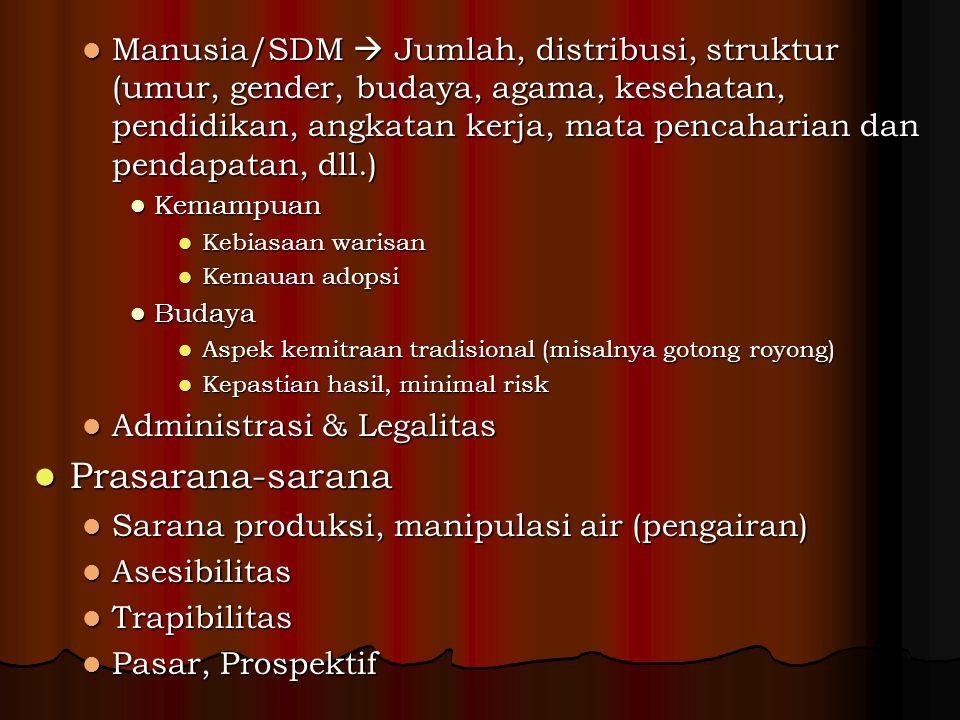 Manusia/SDM  Jumlah, distribusi, struktur (umur, gender, budaya, agama, kesehatan, pendidikan, angkatan kerja, mata pencaharian dan pendapatan, dll.)