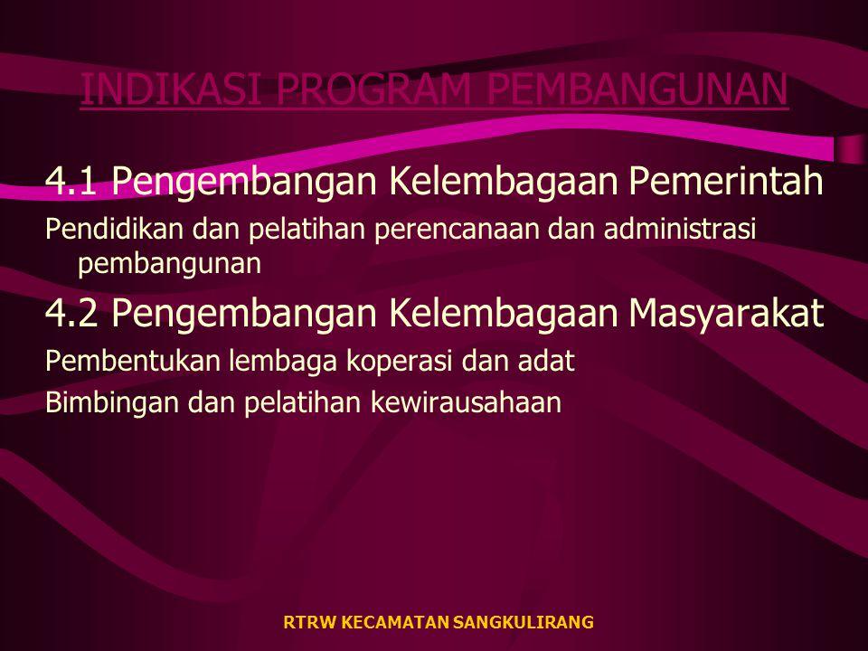 RTRW KECAMATAN SANGKULIRANG INDIKASI PROGRAM PEMBANGUNAN 3.1 Fasilitas Pendidikan: pembangunan SD (Tj. Manis & Batu Lepoq) dan SLTP (Pengadan) 3.2 Fas
