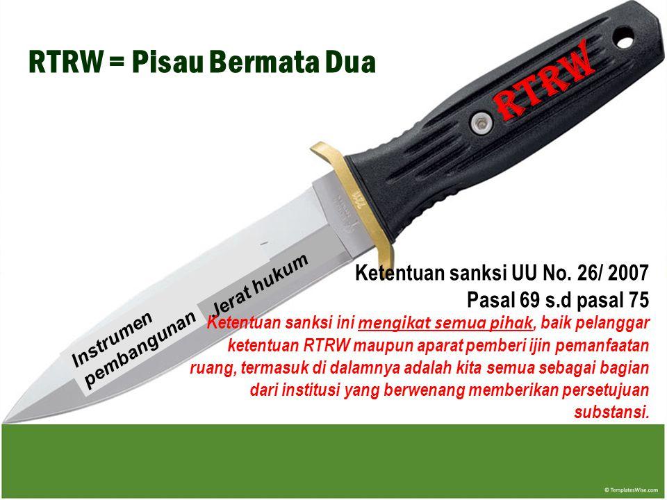 RTRW Instrumen pembangunan Jerat hukum RTRW = Pisau Bermata Dua Ketentuan sanksi UU No.