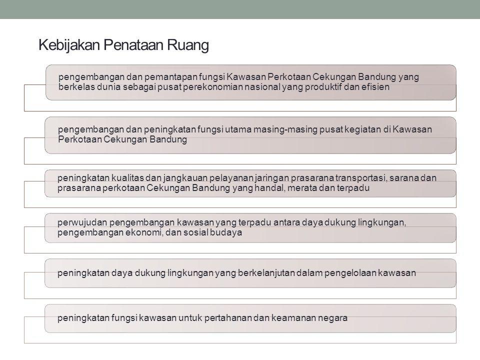 Kebijakan Penataan Ruang pengembangan dan pemantapan fungsi Kawasan Perkotaan Cekungan Bandung yang berkelas dunia sebagai pusat perekonomian nasional