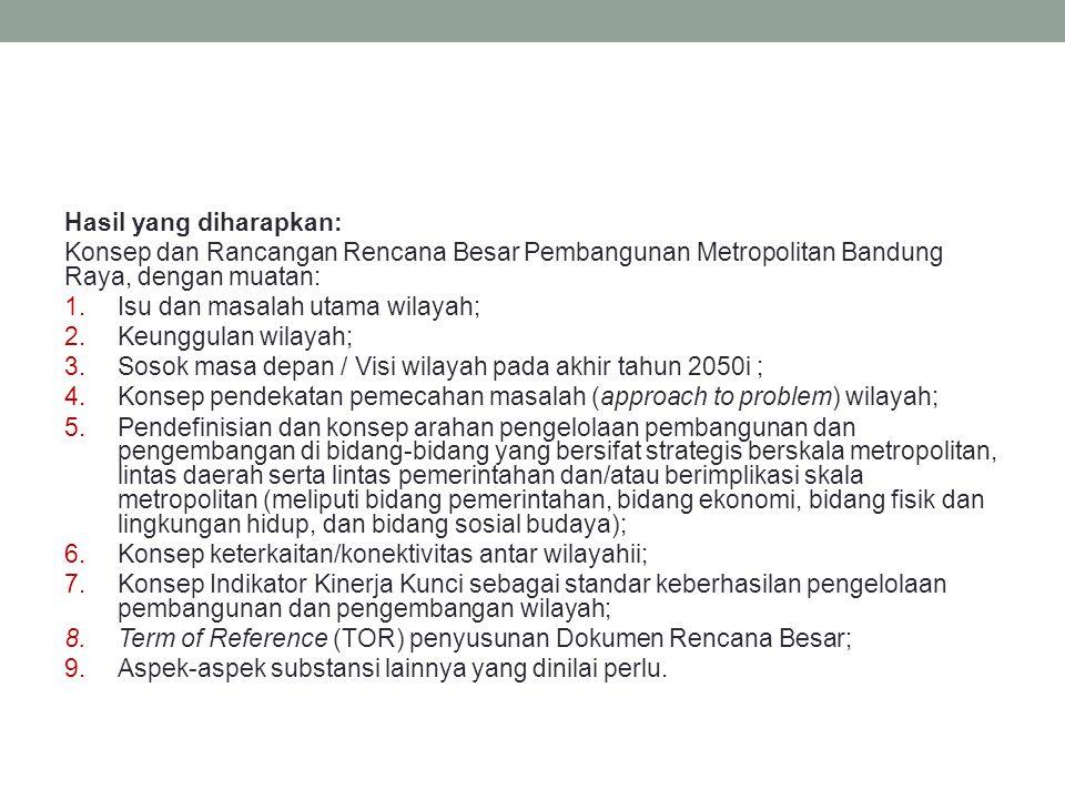 Hasil yang diharapkan: Konsep dan Rancangan Rencana Besar Pembangunan Metropolitan Bandung Raya, dengan muatan: 1.Isu dan masalah utama wilayah; 2.Keu