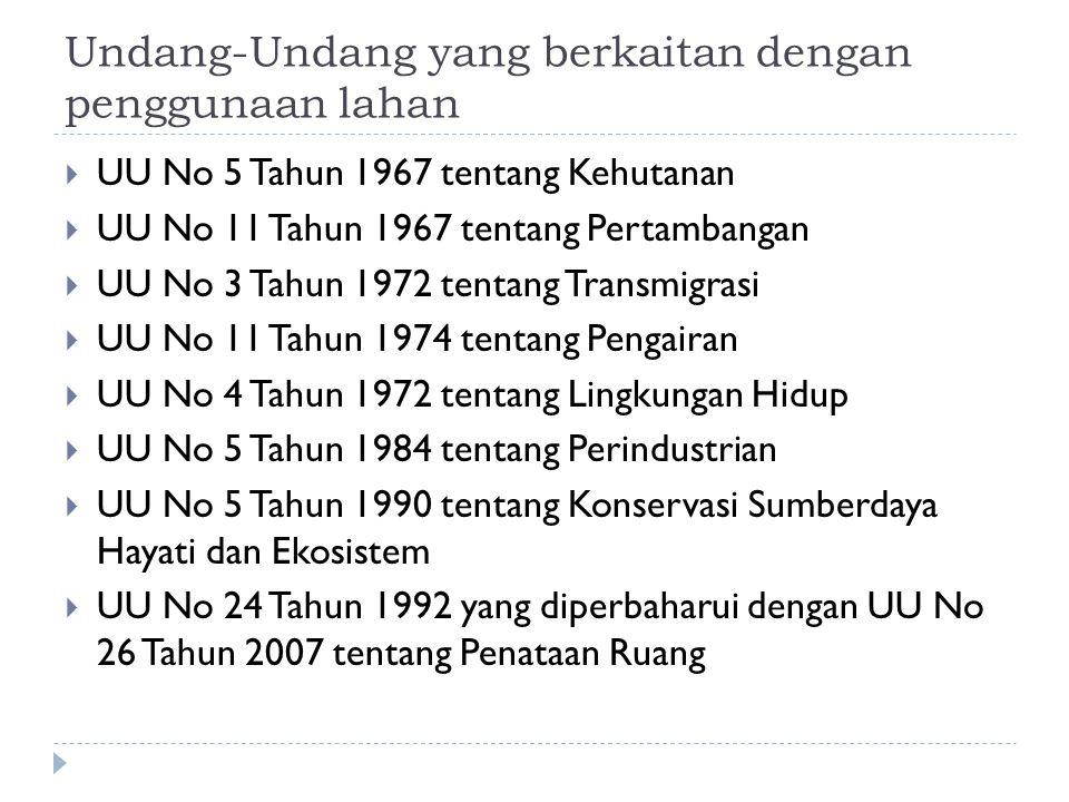 Undang-Undang yang berkaitan dengan penggunaan lahan  UU No 5 Tahun 1967 tentang Kehutanan  UU No 11 Tahun 1967 tentang Pertambangan  UU No 3 Tahun 1972 tentang Transmigrasi  UU No 11 Tahun 1974 tentang Pengairan  UU No 4 Tahun 1972 tentang Lingkungan Hidup  UU No 5 Tahun 1984 tentang Perindustrian  UU No 5 Tahun 1990 tentang Konservasi Sumberdaya Hayati dan Ekosistem  UU No 24 Tahun 1992 yang diperbaharui dengan UU No 26 Tahun 2007 tentang Penataan Ruang