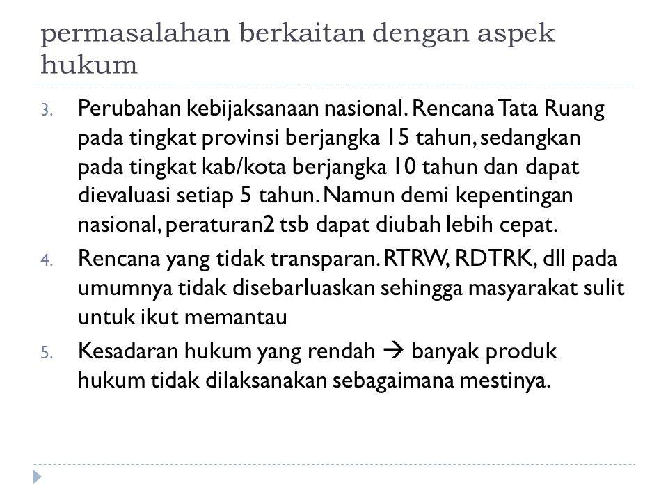permasalahan berkaitan dengan aspek hukum 3.Perubahan kebijaksanaan nasional.