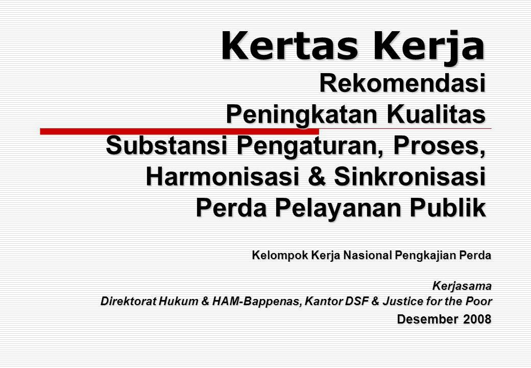 Kertas Kerja Rekomendasi Peningkatan Kualitas Substansi Pengaturan, Proses, Harmonisasi & Sinkronisasi Perda Pelayanan Publik Kelompok Kerja Nasional