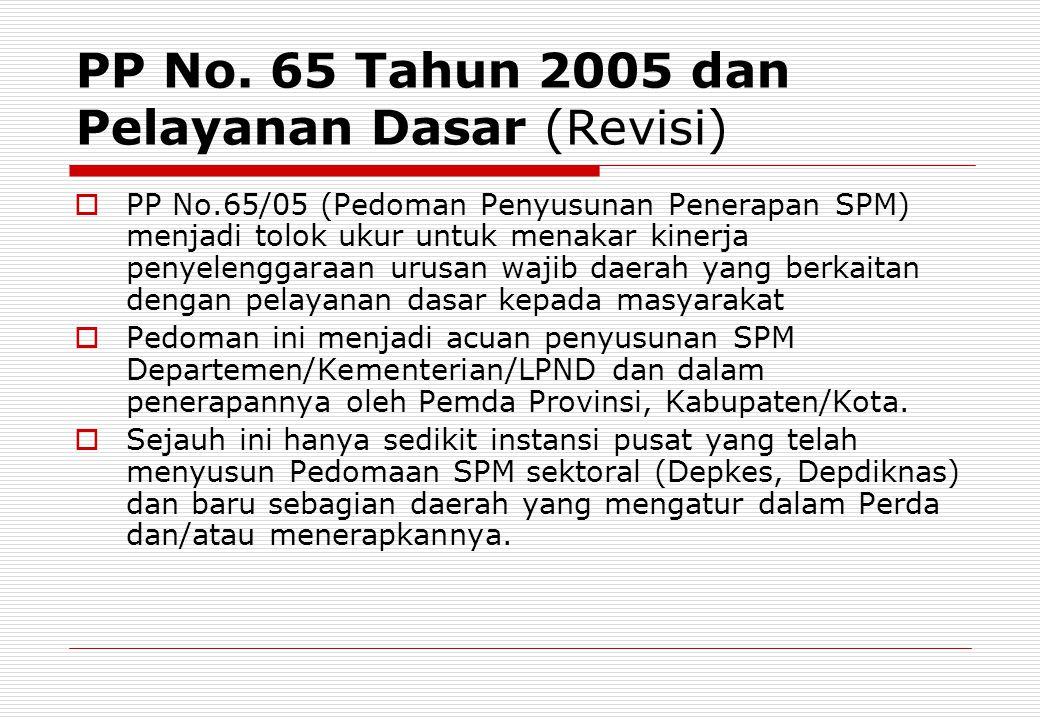 PP No. 65 Tahun 2005 dan Pelayanan Dasar (Revisi)  PP No.65/05 (Pedoman Penyusunan Penerapan SPM) menjadi tolok ukur untuk menakar kinerja penyelengg
