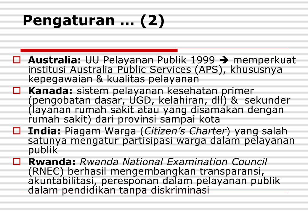 Pengaturan … (2)  Australia: UU Pelayanan Publik 1999  memperkuat institusi Australia Public Services (APS), khususnya kepegawaian & kualitas pelaya