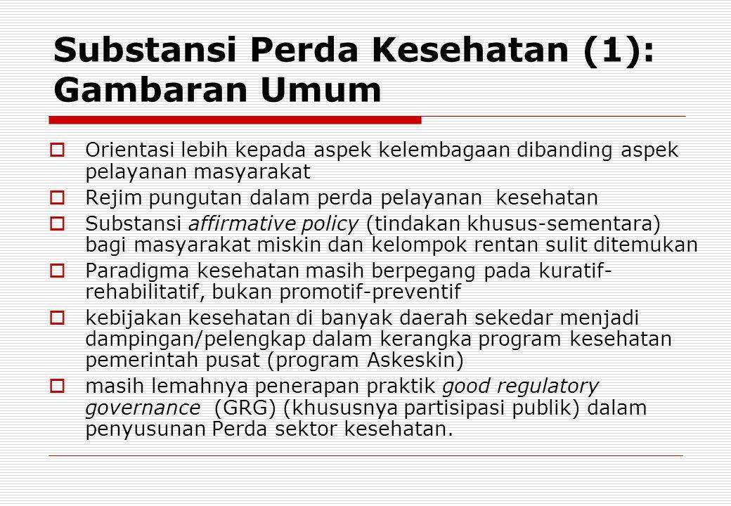 Substansi Perda Kesehatan (1): Gambaran Umum  Orientasi lebih kepada aspek kelembagaan dibanding aspek pelayanan masyarakat  Rejim pungutan dalam pe