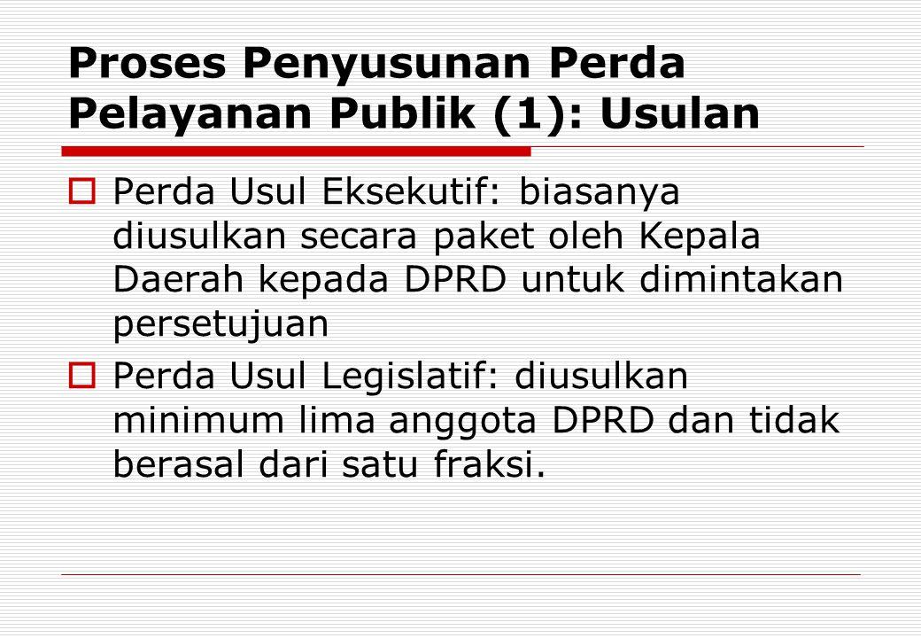 Proses Penyusunan Perda Pelayanan Publik (1): Usulan  Perda Usul Eksekutif: biasanya diusulkan secara paket oleh Kepala Daerah kepada DPRD untuk dimi