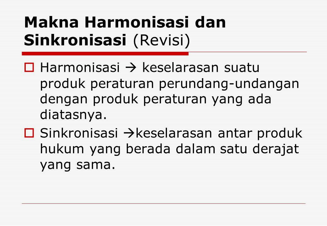 Makna Harmonisasi dan Sinkronisasi (Revisi)  Harmonisasi  keselarasan suatu produk peraturan perundang-undangan dengan produk peraturan yang ada dia