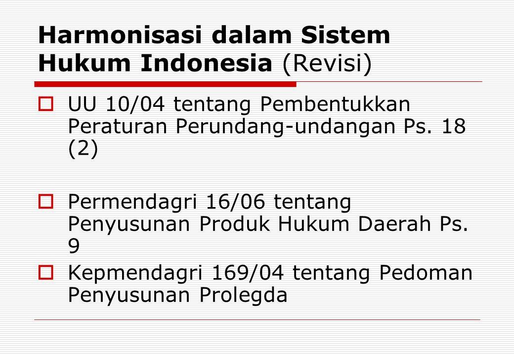 Harmonisasi dalam Sistem Hukum Indonesia (Revisi)  UU 10/04 tentang Pembentukkan Peraturan Perundang-undangan Ps. 18 (2)  Permendagri 16/06 tentang