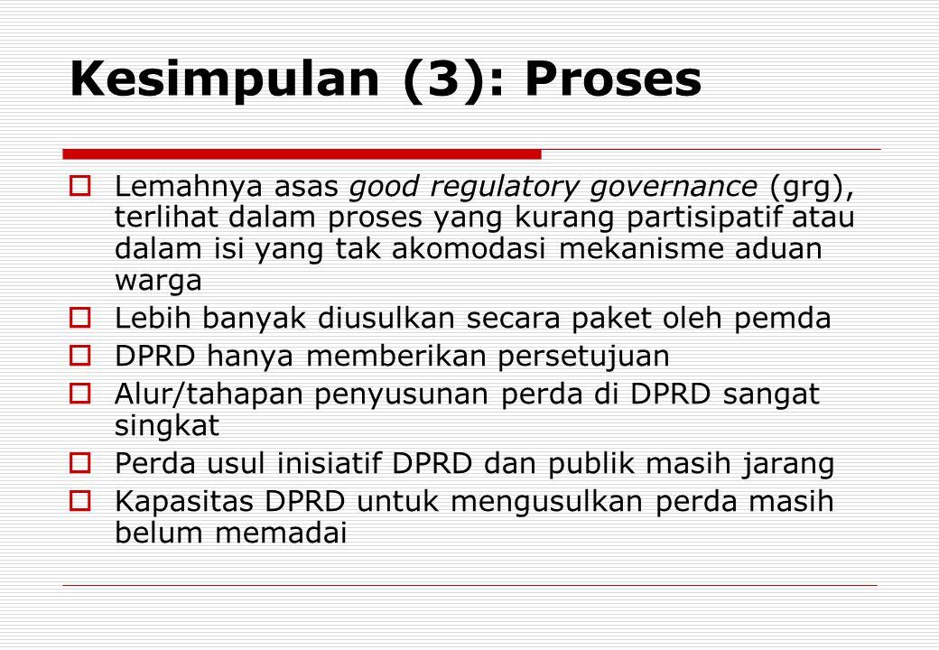 Kesimpulan (3): Proses  Lemahnya asas good regulatory governance (grg), terlihat dalam proses yang kurang partisipatif atau dalam isi yang tak akomod