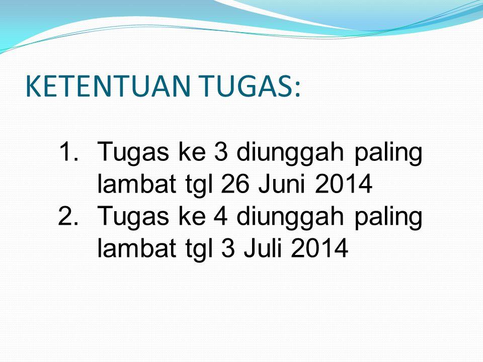 KETENTUAN TUGAS: 1.Tugas ke 3 diunggah paling lambat tgl 26 Juni 2014 2.Tugas ke 4 diunggah paling lambat tgl 3 Juli 2014