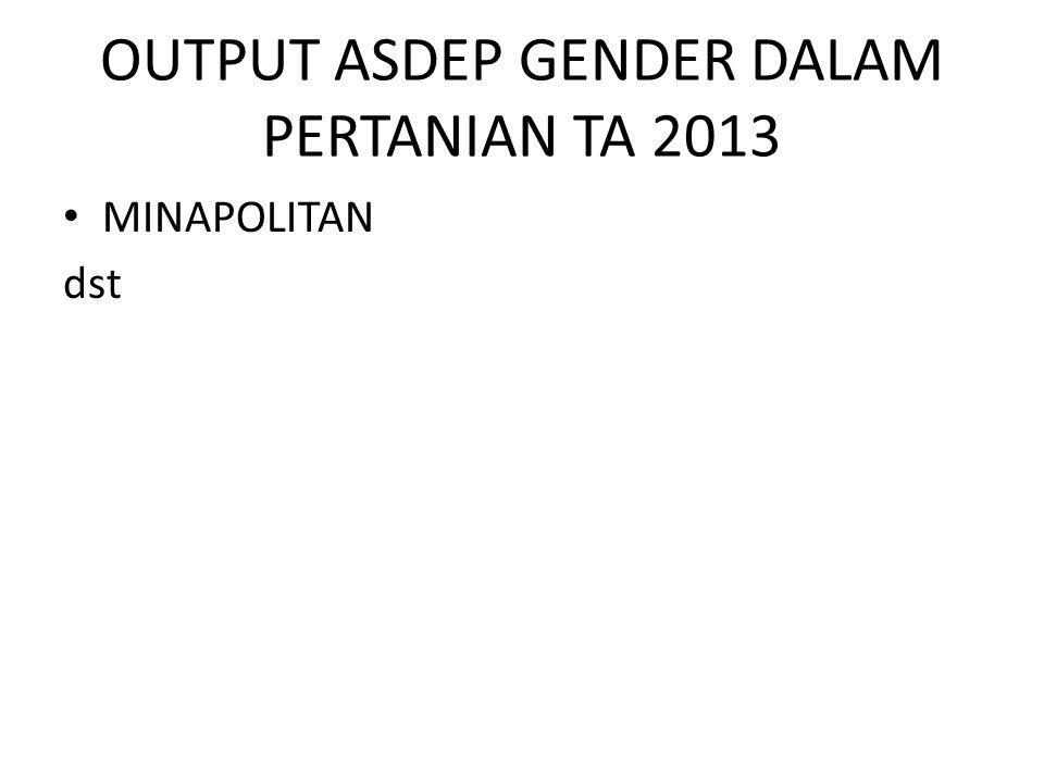 OUTPUT ASDEP GENDER DALAM PERTANIAN TA 2013 MINAPOLITAN dst
