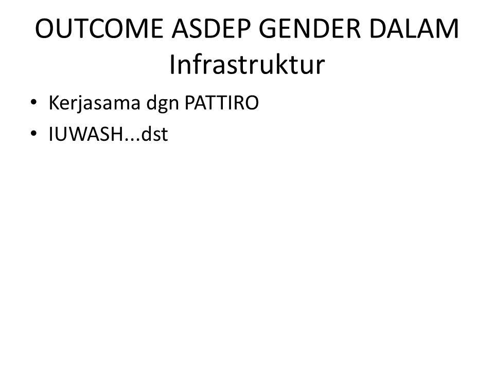 OUTCOME ASDEP GENDER DALAM Infrastruktur Kerjasama dgn PATTIRO IUWASH...dst