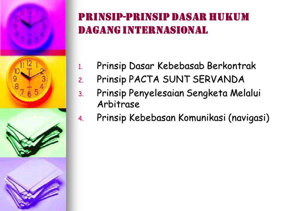 Prinsip-prinsip dasar hukum dagang internasional 1. Prinsip Dasar Kebebasab Berkontrak 2. Prinsip PACTA SUNT SERVANDA 3. Prinsip Penyelesaian Sengketa