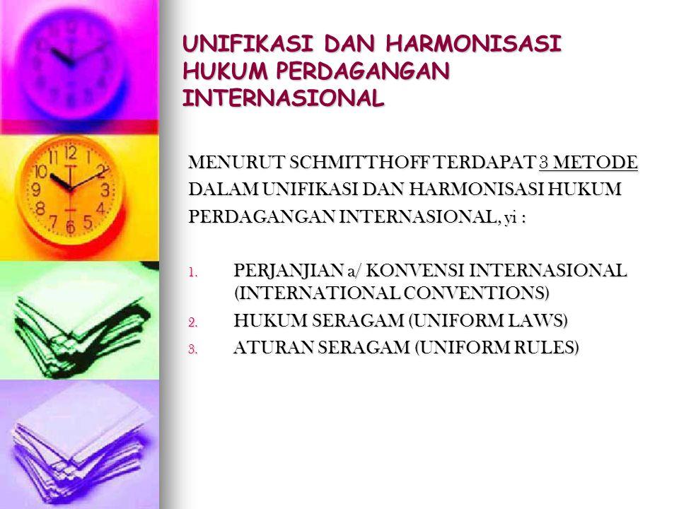 UNIFIKASI DAN HARMONISASI HUKUM PERDAGANGAN INTERNASIONAL MENURUT SCHMITTHOFF TERDAPAT 3 METODE DALAM UNIFIKASI DAN HARMONISASI HUKUM PERDAGANGAN INTE