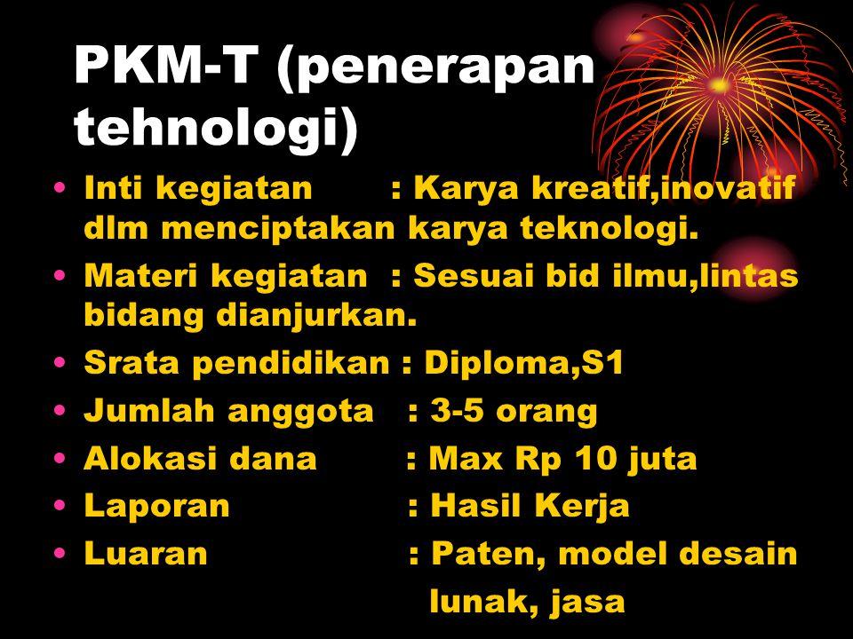 PKM-K (kewirausahaan) Inti Kegiatan : Karya kreatif.inovatif dlm membuka peluang usaha.