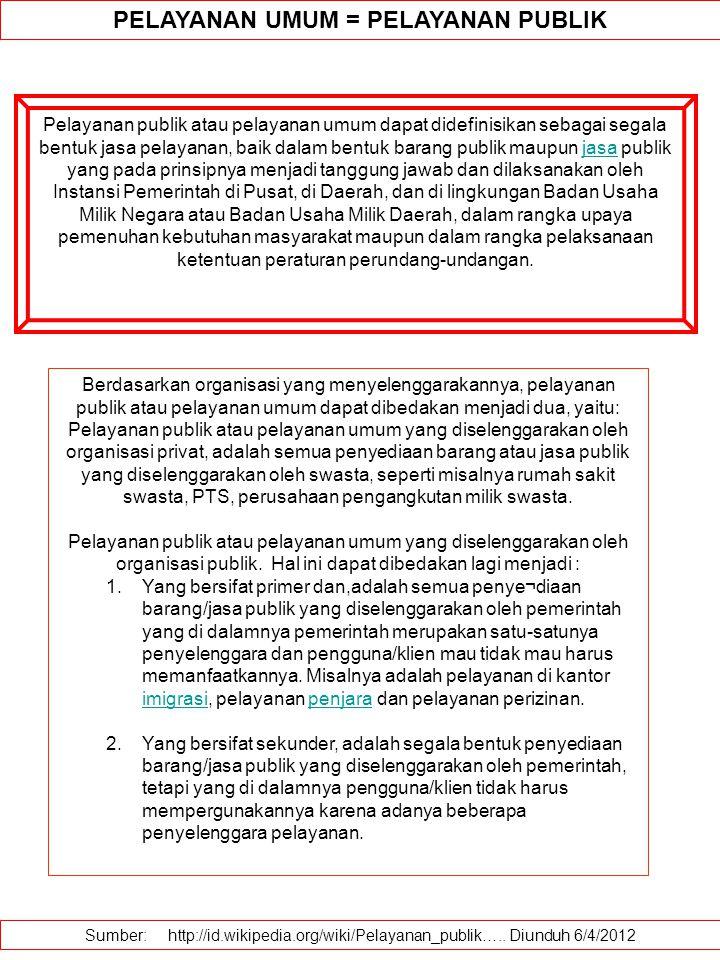 PELAYANAN UMUM = PELAYANAN PUBLIK Pelayanan publik atau pelayanan umum dapat didefinisikan sebagai segala bentuk jasa pelayanan, baik dalam bentuk barang publik maupun jasa publik yang pada prinsipnya menjadi tanggung jawab dan dilaksanakan oleh Instansi Pemerintah di Pusat, di Daerah, dan di lingkungan Badan Usaha Milik Negara atau Badan Usaha Milik Daerah, dalam rangka upaya pemenuhan kebutuhan masyarakat maupun dalam rangka pelaksanaan ketentuan peraturan perundang-undangan.jasa Sumber: http://id.wikipedia.org/wiki/Pelayanan_publik…..