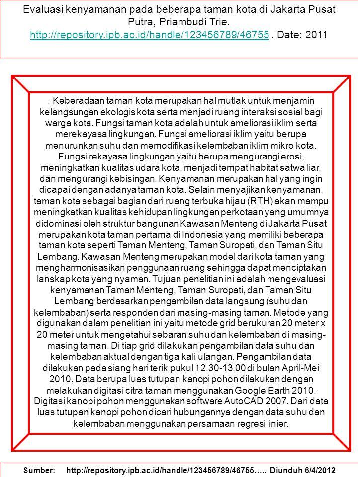 Evaluasi kenyamanan pada beberapa taman kota di Jakarta Pusat Putra, Priambudi Trie.