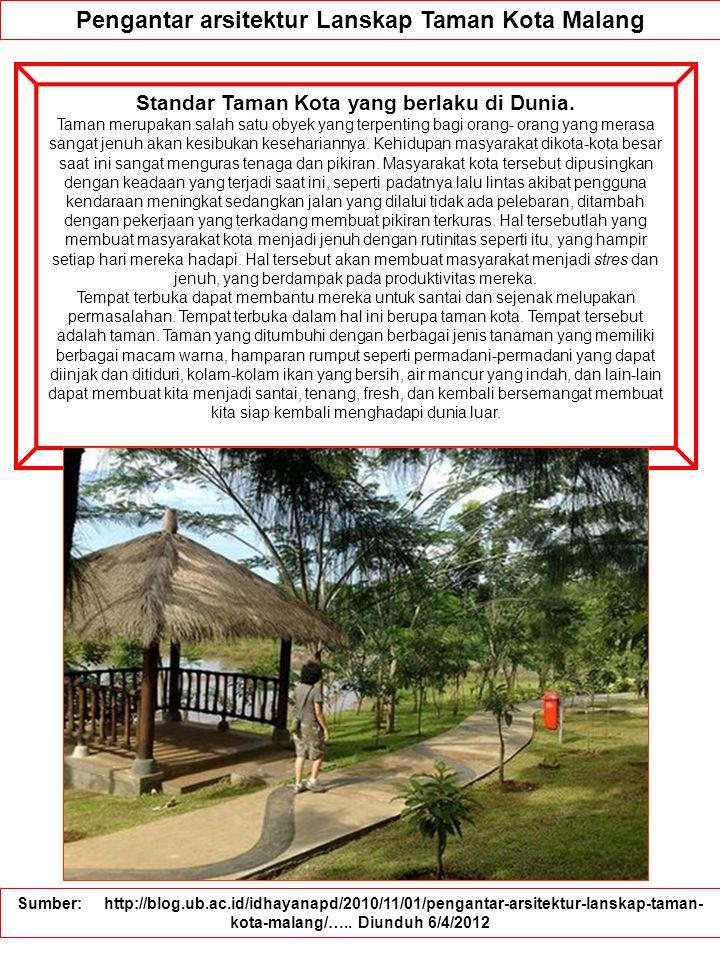 Pengantar arsitektur Lanskap Taman Kota Malang Standar Taman Kota yang berlaku di Dunia.