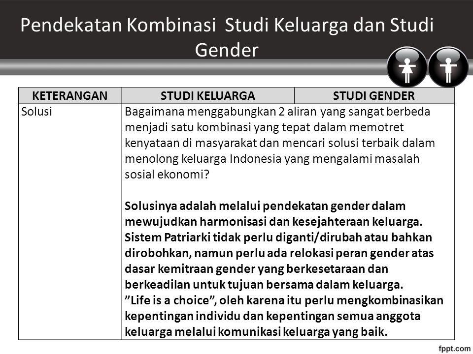 Pendekatan Kombinasi Studi Keluarga dan Studi Gender KETERANGANSTUDI KELUARGASTUDI GENDER SolusiBagaimana menggabungkan 2 aliran yang sangat berbeda m