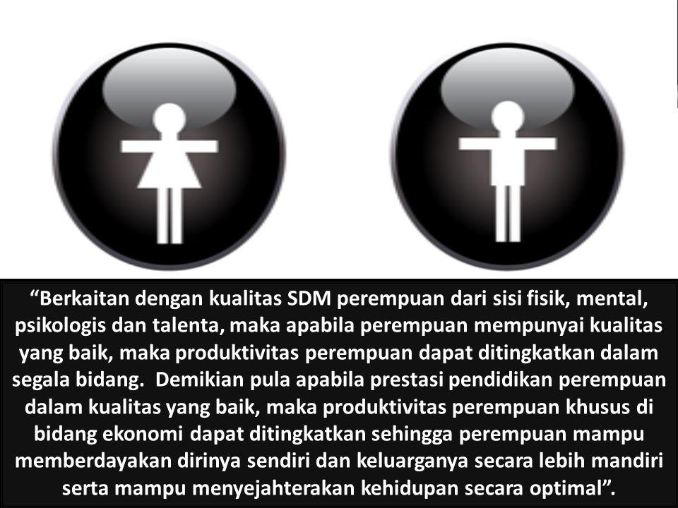 Berkaitan dengan kualitas SDM perempuan dari sisi fisik, mental, psikologis dan talenta, maka apabila perempuan mempunyai kualitas yang baik, maka produktivitas perempuan dapat ditingkatkan dalam segala bidang.