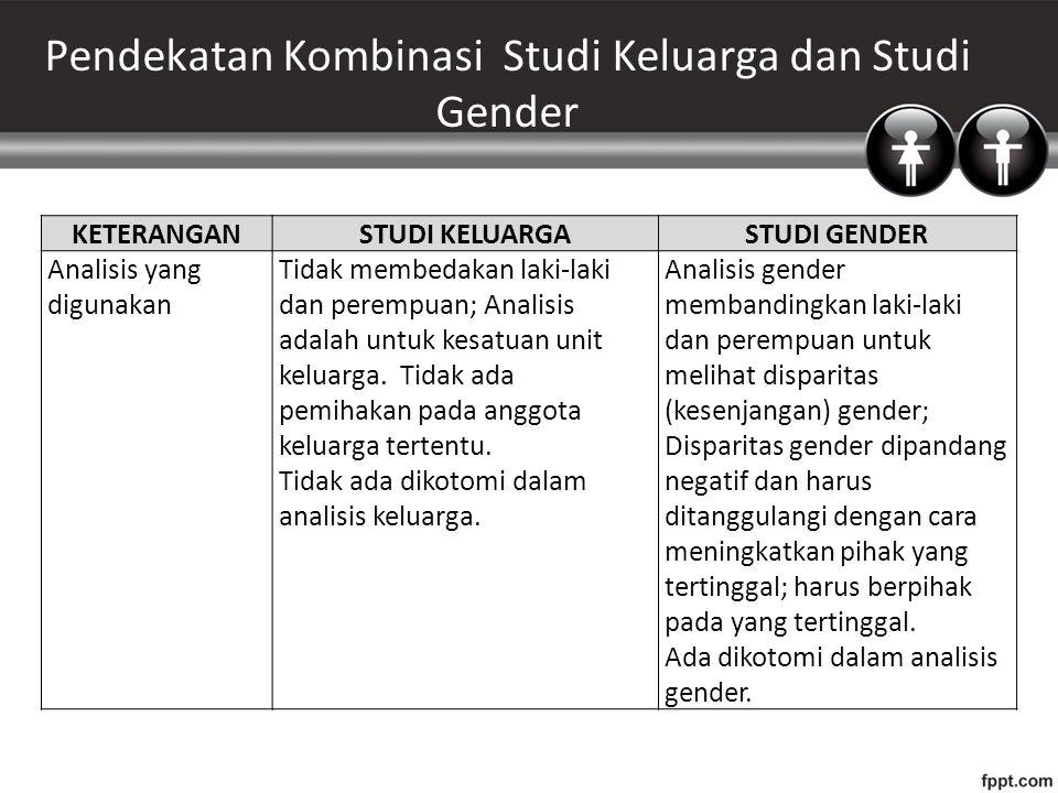Pendekatan Kombinasi Studi Keluarga dan Studi Gender KETERANGANSTUDI KELUARGASTUDI GENDER Analisis yang digunakan Tidak membedakan laki-laki dan perempuan; Analisis adalah untuk kesatuan unit keluarga.