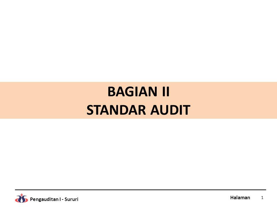 Halaman Pengauditan I - Sururi FUNGSI STANDAR AUDIT Standar audit adalah pedoman umum pelaksanaan audit untuk membantu auditor dalam memenuhi tanggungjawab profesionalnya dalam audit laporan keuangan.