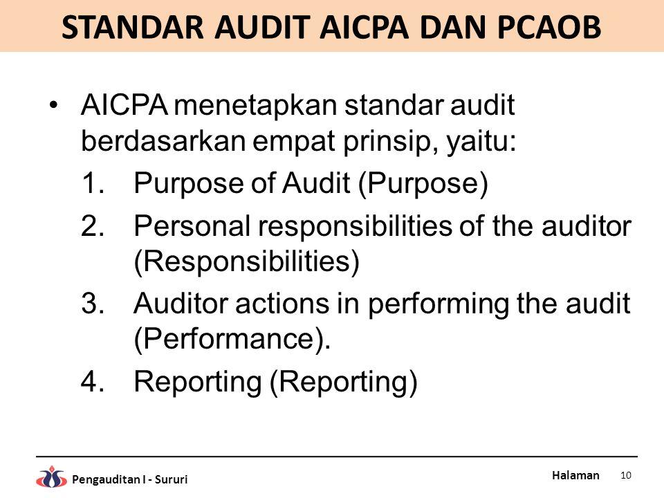 Halaman Pengauditan I - Sururi STANDAR AUDIT AICPA DAN PCAOB AICPA menetapkan standar audit berdasarkan empat prinsip, yaitu: 1.Purpose of Audit (Purp