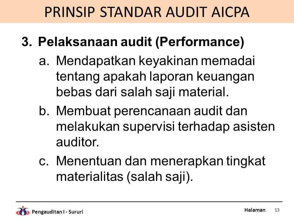 Halaman Pengauditan I - Sururi PRINSIP STANDAR AUDIT AICPA 3.Pelaksanaan audit (Performance) a.Mendapatkan keyakinan memadai tentang apakah laporan ke