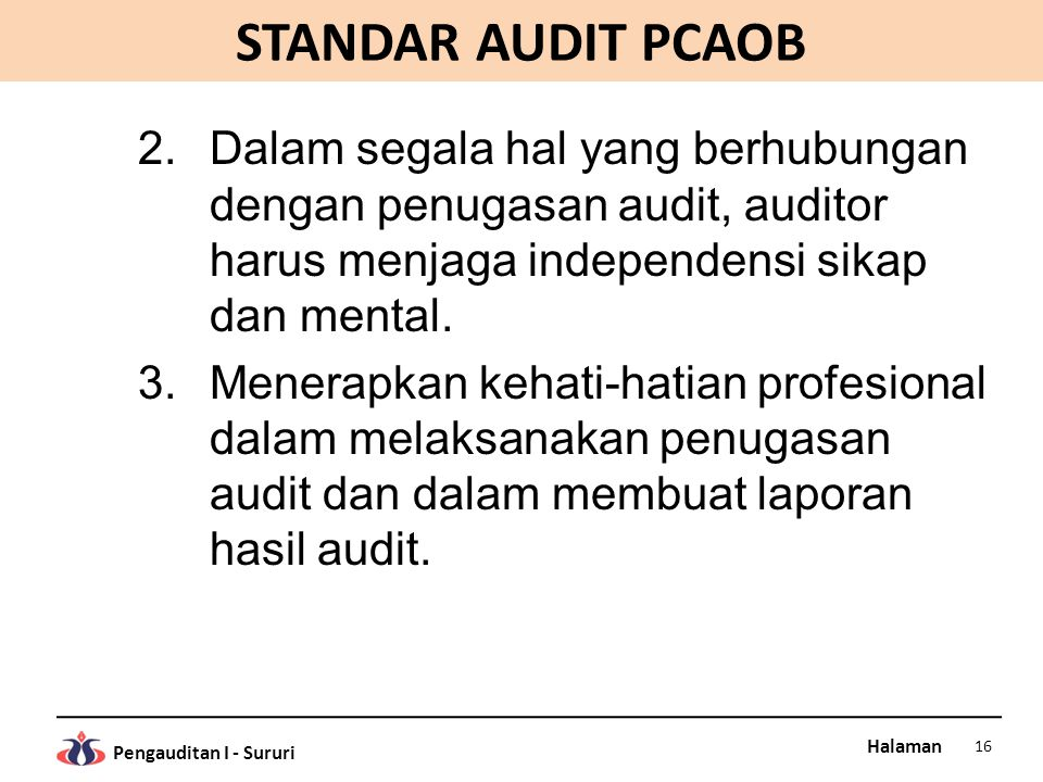 Halaman Pengauditan I - Sururi STANDAR AUDIT PCAOB 2.Dalam segala hal yang berhubungan dengan penugasan audit, auditor harus menjaga independensi sika