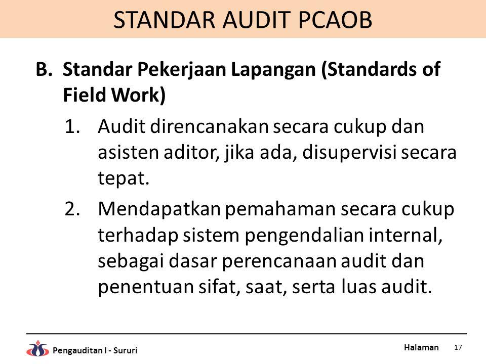 Halaman Pengauditan I - Sururi STANDAR AUDIT PCAOB B.Standar Pekerjaan Lapangan (Standards of Field Work) 1.Audit direncanakan secara cukup dan asiste