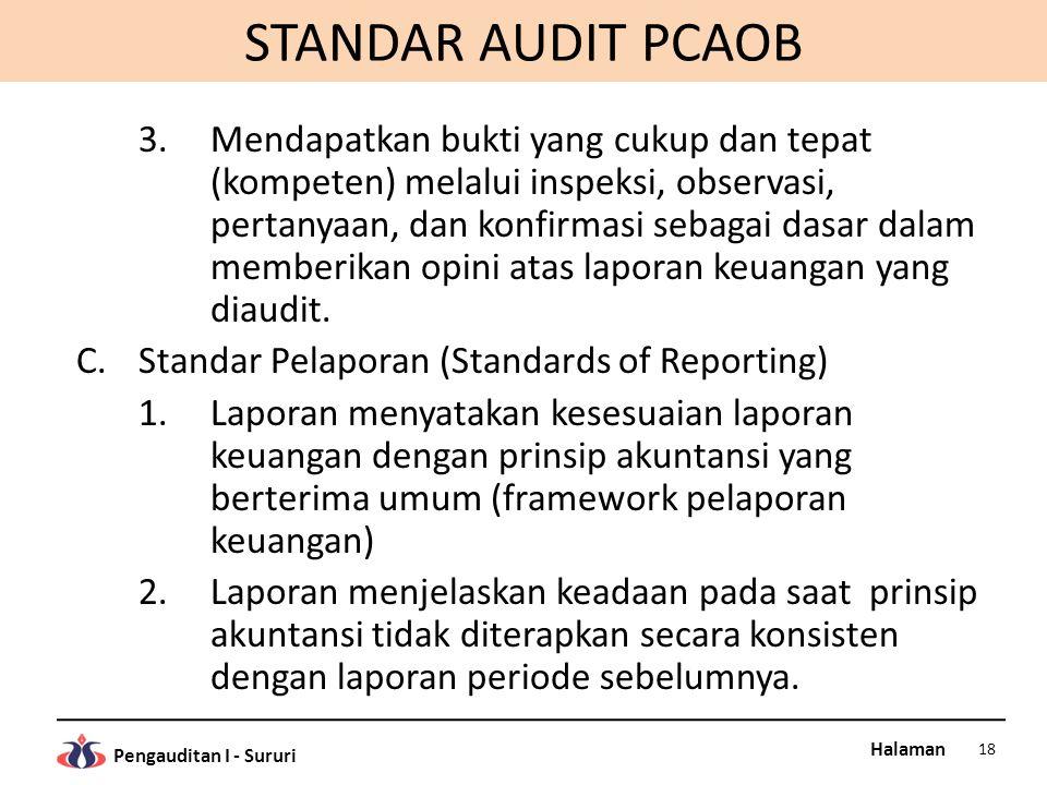 Halaman Pengauditan I - Sururi STANDAR AUDIT PCAOB 3.Mendapatkan bukti yang cukup dan tepat (kompeten) melalui inspeksi, observasi, pertanyaan, dan ko