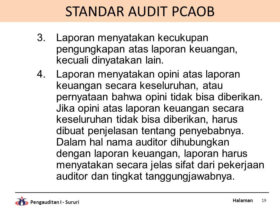 Halaman Pengauditan I - Sururi STANDAR AUDIT PCAOB 3.Laporan menyatakan kecukupan pengungkapan atas laporan keuangan, kecuali dinyatakan lain. 4.Lapor