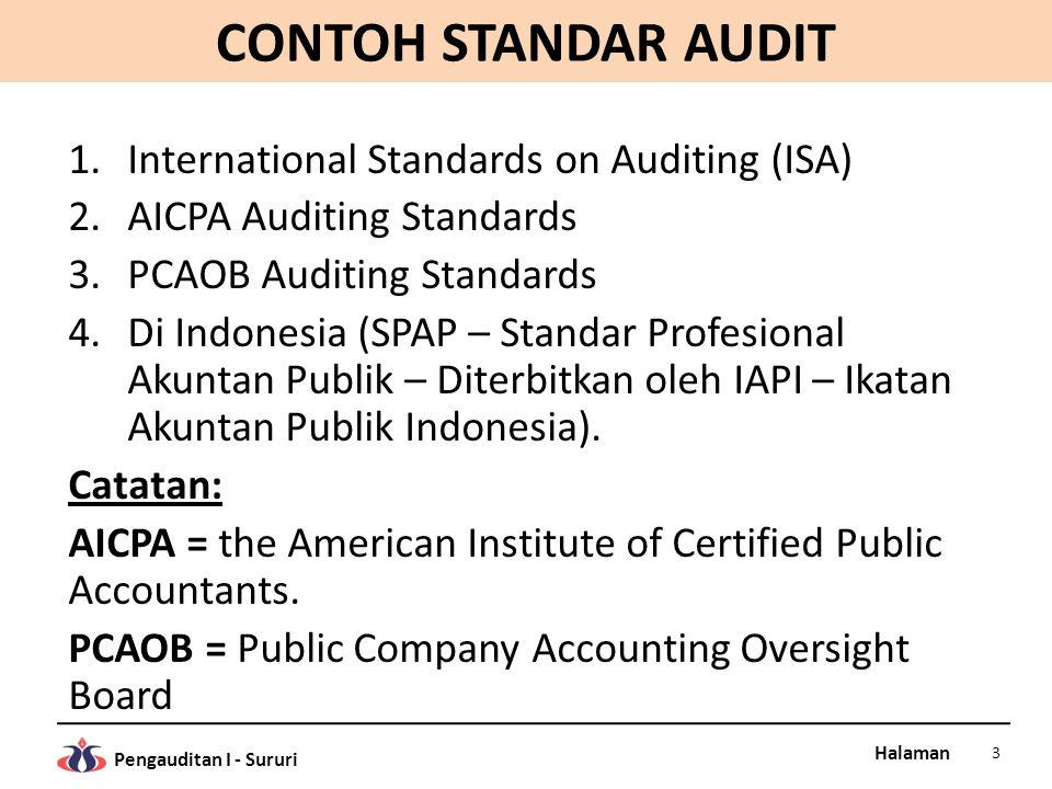 Halaman Pengauditan I - Sururi CONTOH STANDAR AUDIT 1.International Standards on Auditing (ISA) 2.AICPA Auditing Standards 3.PCAOB Auditing Standards