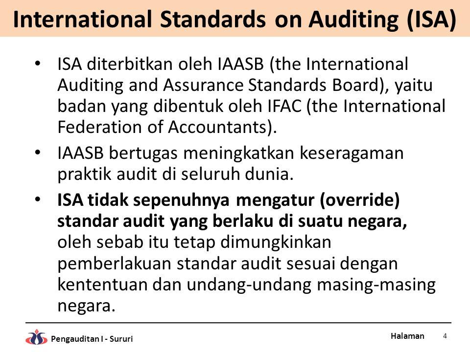Halaman Pengauditan I - Sururi AICPA – Auditing Standards Di Amerika nama standar audit yang berlaku adalah SASs (Statements on Auditing Standards), diterbitkan oleh ASB (the Auditing Standards Board), sebuah badan di bawah AICPA (the American Institute of Certified Pablic Accountants).
