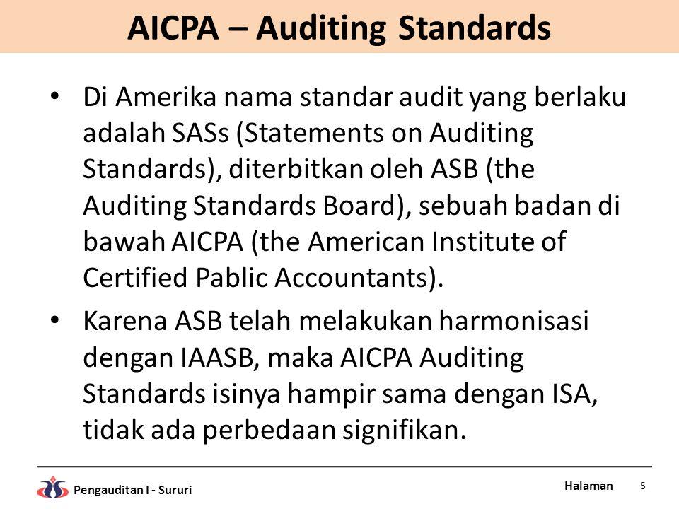 Halaman Pengauditan I - Sururi AICPA – Auditing Standards Di Amerika nama standar audit yang berlaku adalah SASs (Statements on Auditing Standards), d